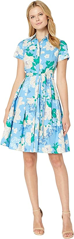 Printed Poplin Fit and Flare Shirtdress
