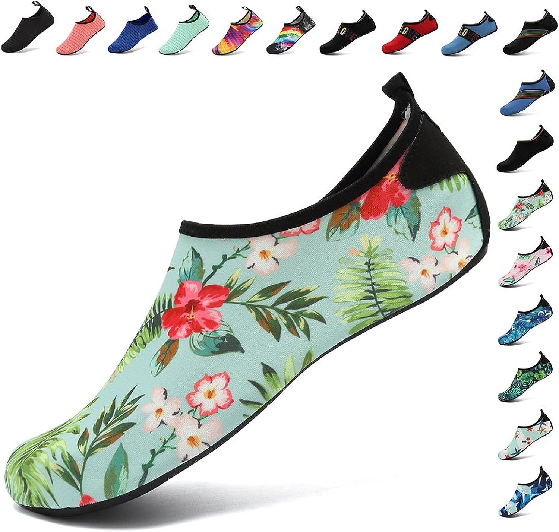 FANTURE Lightweight Women and Men Aqua Water shoes Quick-Dry Breather Sports Skin Barefoot Anti-Slip Multifunctional U4BSX001-N.green02-38.39
