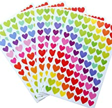 Yansanido 18 Sheets Colorful Decorative Colored Heart-Shaped Adhesive Sticker (Heart-Shaped 18 Sheet)
