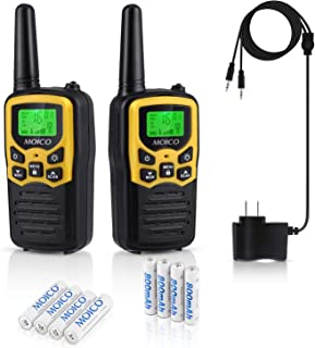 MOICO Professional Rechargeable Walkie Talkies, Long Range Two Way Radios for Adults up to 5 Miles in Open Area,Handheld Talkies Talky with 22 Channels FRS/GMRS VOX Scan LCD Display LED Flashlight