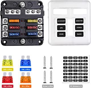 Extractme 12V 6-Way Blade Fuse Block with Negative Bus, 6 Circuit Fuse Box Holder with LED Indicator Waterproof Protection...