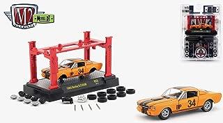 M2 Machines 1965 Shelby G.T. 350R (Orange Fury w/ Black Stripes) 2018 Detroit Muscle Model Kit (Release 23) - 1:64 Scale Die-Cast Vehicle & Auto-Lift Building Set (R23 18-27)