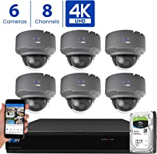 GW 8 Channel 4K H.265 CCTV DVR Security Camera System with (6) x UHD 8MP 2.8-12mm Varifocal Zoom 4K Dome Surveillance Cameras and 2TB HDD, Free Remote View, Motion Alert with Snapshot