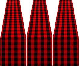 Elcoho 3 Pack Buffalo Plaid Table Runner Cotton Checkered Table Runner 13 x 72 Inches for Indoor Outdoor Plaid Home Decora...