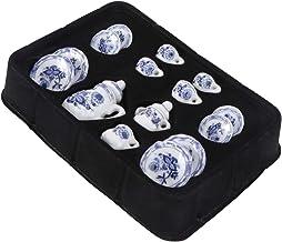 Bestonzon 15PCS Miniature Porcelain Ceramic Tea Set Dollhouse 1/12 Miniatur Dish Cup Plate Classic Dollhouse Kitchen Acces...