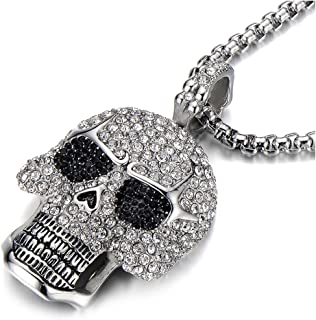 COOLSTEELANDBEYOND Steel Large Sugar Skull Pendant Necklace for Men Women with Cubic Zirconia and 30 inches Wheat Chain