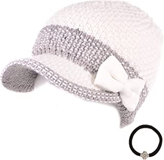 MIRMARU Women's Winter Cable Knitted Beret Visor Beanie Hat with Scrunchy.
