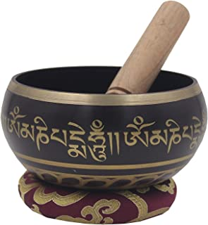 DharmaObjects Tibetan Meditation Om Mani Padme Hum Peace Singing Bowl With Mallet (X-Large, Purple)