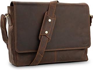 TALED Ledertasche Herren Bag von TALED - 15,6 Zoll inkl. Schulterpolster und Gurt - Hochwertige Echtleder Messenger mit E-Book - Laptop Bag Uni, Arbeit, Schule