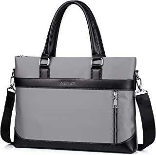 Men's Shoulder Bag, Popoti Leather Shoulder Bag Handbag Schoolbag Waterproof Oxford Cloth Crossbody Bags Daypack Briefcase Multifunctional Messenger Bag (Gray, 38X6X28CM)