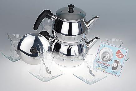 Preisvergleich für B&E's oriental living Orginal türkisches Tee Set Teeset 'Basic Plus S'/ 6 klassische Gläser/ 6 Rührlöffel (von KD)/ 6 Untersetzer/ 1 Teekocher Teekannen Set Größe S (1,2 & 0,6 Liter)/ 1 Siebeinsatz für die Teekanne