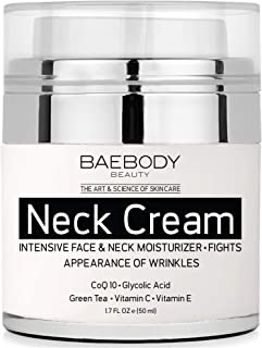 Baebody Neck Cream with AHAs, CoQ10, Glycolic Acid & Green Tea, 1.7 Ounces
