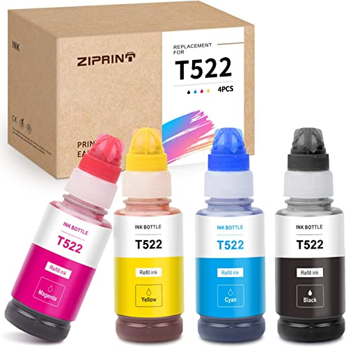 discount ZIPRINT new arrival Compatible Ink Bottle Replacement for Epson 522 T522 T522120 use for EcoTank ET-2710 online sale ET-2720 ET-4700 All-in-One Supertank (Black, Cyan, Magenta, Yellow, 4-Pack) online sale