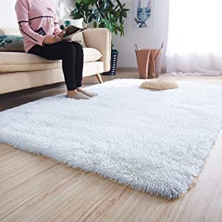 Noahas Ultra Soft Shaggy Area Rugs Fluffy Living Room Carpet Bedroom Fur Rug Anti-Skid Child Playing Mat Home Decor, 5.3 x 7.5 Feets White