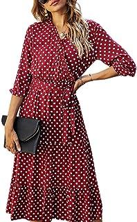 OrientalPort Abito elegante da donna, con scollo a V, plissettato, lungo, casual, motivo a pois, da spiaggia, estivo, con ...