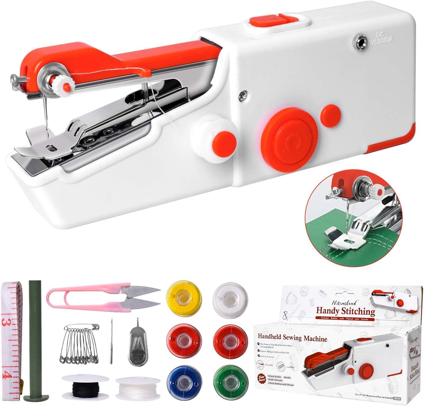 Máquina de Coser Portátil, Mini máquina de coser eléctrica portátil para adultos, fácil de usar y de puntada rápida adecuada para ropa, cortinas, telas, bricolaje para viajes en casa