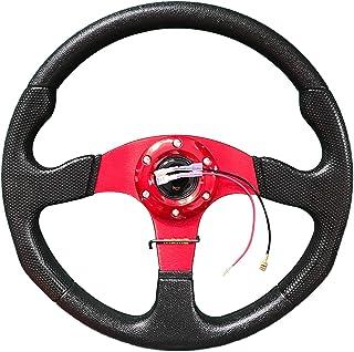 Asudaro Universal Steering Wheel 320mm //13Zoll Rennlenkrad Aluminiumlegierung Sportlenkrad Racing Leder-Lenkrad Half Dish Lenkrad,Schwarz Motorsport Lenkrad