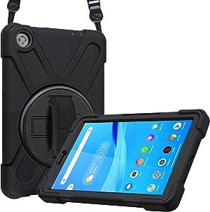 ProCase Lenovo Tab M8 HD/Tab M8 HD LTE/Smart Tab M8 Case, Rugged Heavy Duty Shockproof Rotating Kickstand Protective Cover for Lenovo Tab M8 HD LTE/Tab M8 HD/Smart Tab M8 -Black