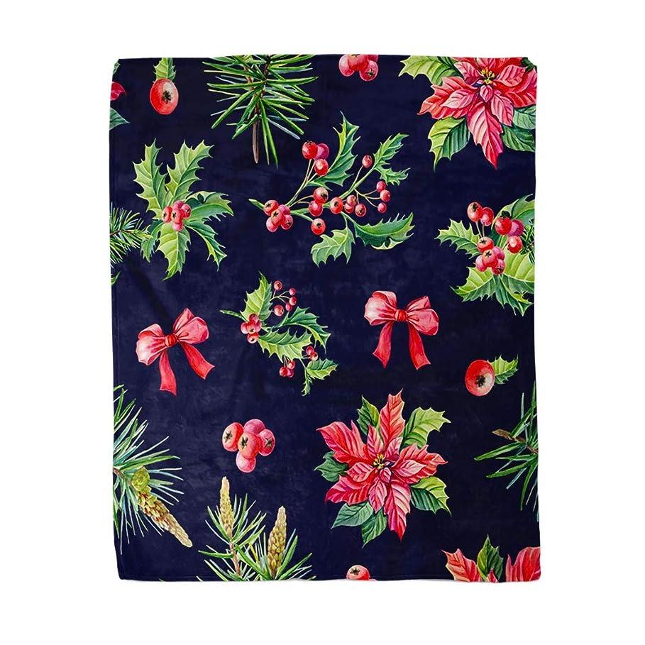 シャイ一見記憶に残る50x60インチソフトインテリアスローブランケットクリスマス水彩赤ポインセチア花ヒイラギ葉ベリーパインスプルースグリーン暖かい居心地の良いフランネルベッドブランケットのためにソファソファ椅子リビングベッドルーム 120X150