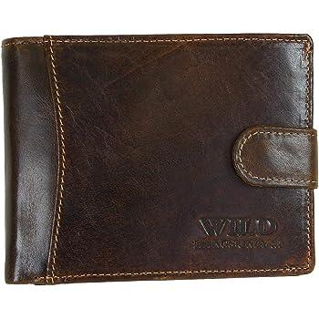 Cuir Vintage portefeuille porte-monnaie Portefeuille RV-Petit Compartiment Argent Wild/'S Marron