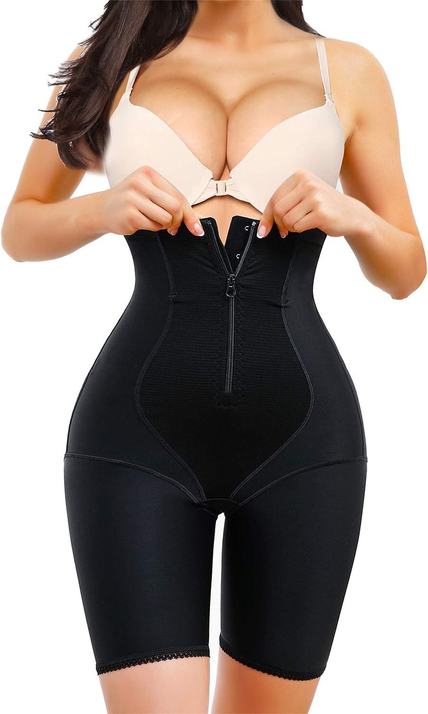 Eleady Womens Waist Trainer Shapewear Hi-Waist Butt Lifter Tummy Control Panties Thigh Slimmer Body Shaper with Zipper