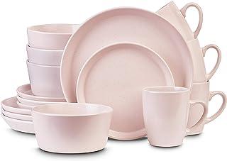 Sponsored Ad - Stone Lain Stoneware Dinnerware Set, Service For 4, Light Pink