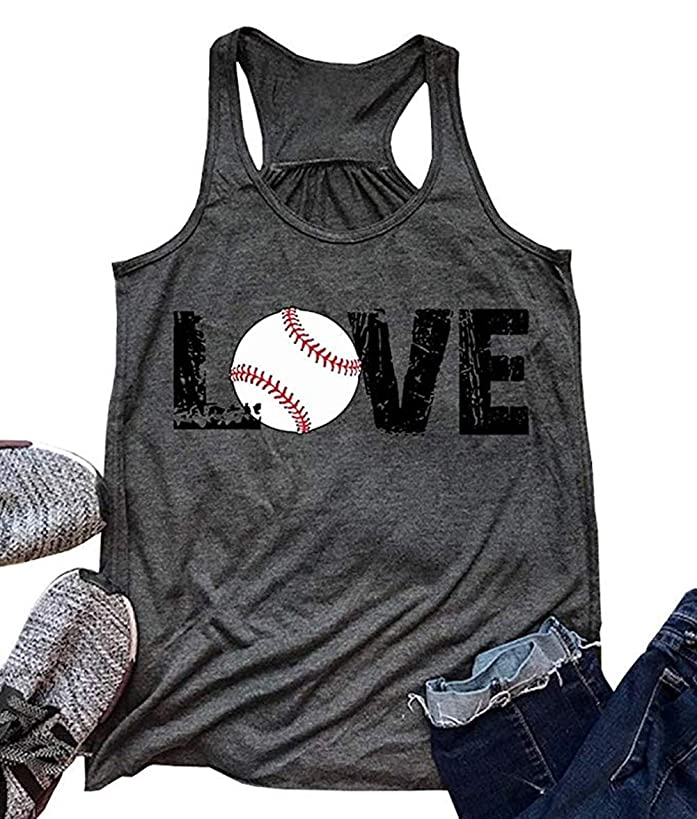 Love Baseball Tank Top Grils Racerback Tanks Women Casual Summer Baseball Graphic Cute Sleeveless Shirts Tees