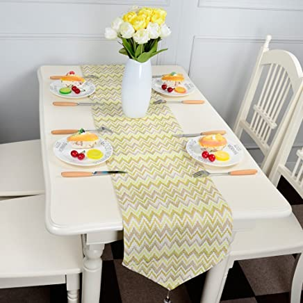 Top Finel Table Runners Beautiful Waves - Gradual Change Color Table Top Decoration for Home Outdoor Wedding Party Birthday 12 by 82 inch, (33x210 cm) Yellow