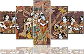 Indian Hindu Gods Painting Radha Krishna Pictures 5 Panel Canvas Retro Wall Art Artwork Home Decorations for Living Room Giclee Framed Gallery-wrapped Ready to Hang Posters and Prints(60''Wx32''H)
