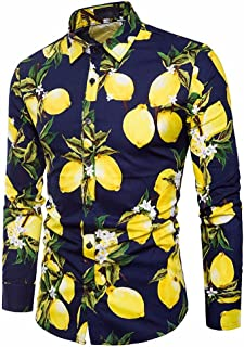 Men's Summer Fresh Lemon Pattern Print Long Sleeve Shirt Slim Fit Button-Down Formal Top