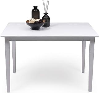 Mesa de Comedor o Cocina Kansas de Madera lacada en Color Blanco de 112x72 cm