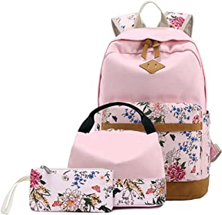 BLUBOON Backpack for School Girls Teens Kids Bookbags Set Women Laptop Bag Lunch Bag Clutch Purse (Pink - Floral 01)