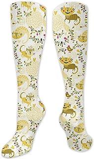 Fuliya, Calcetines altos de compresión de pollos con colas y figuras de corazón, calcetines para mujeres y hombres, ideales para correr, atletismo, senderismo, viajes, vuelo.