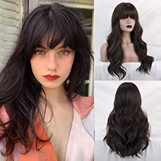 BOGSEA Wig with Bangs Long Wigs for Women Long Wigs with Bangs Synthetic Wavy Wigs for Daily Party (Dark Brown~)