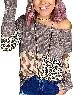 UUGYE Womens Leopard Print Crew Neck Stitching Fashion Loose Fit T-shirt