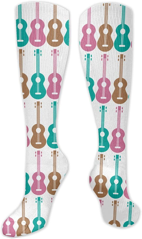 NiYoung Men Women Compression Socks Casual Colors Fashion Crew Socks for Outdoor Sports Hiking Trekking, Ukulele Pattern