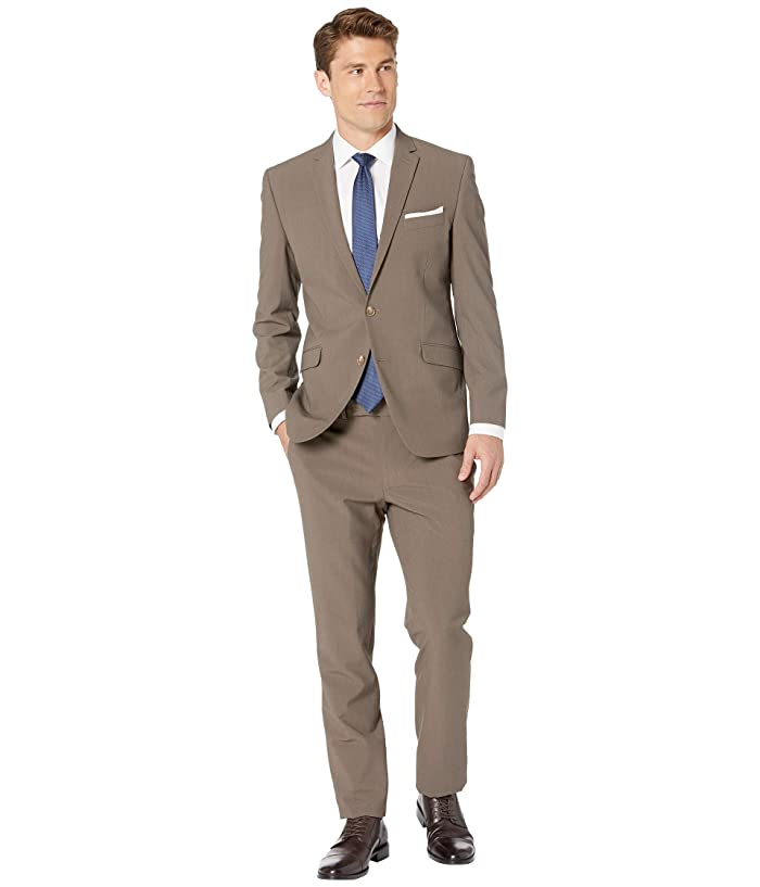Kenneth Cole Reaction  Solid Slim Fit Stretch Performance Suit (Brown) Mens Suits Sets