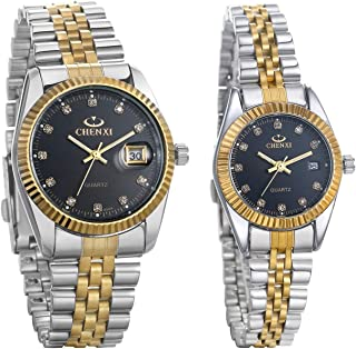 Luxury Couple Watches Gold-Silver Tone Stainless Steel Quartz Calendar Wristwatch Rhinestone His and Her Watch Set, for Valentine's Day