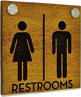 Hôtel toilettes porte signe - bois massif gravé Iroko (teck africain) et acrylique - signe de WC personnalisé moderne - pl...