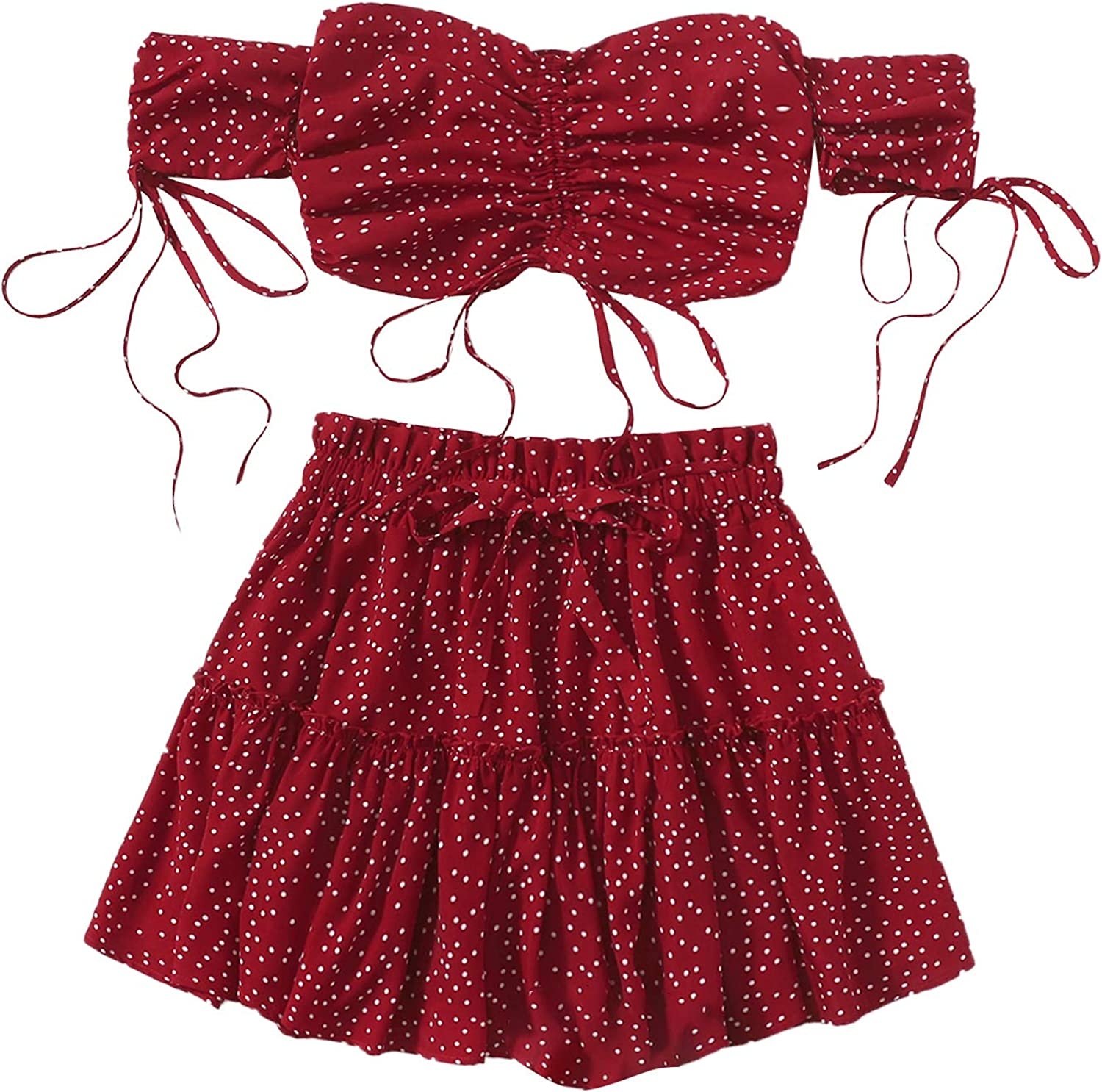 Milumia Women Boho 2PCS Outfit Off Shoulder Ditsy Floral Crop Top and Flared Skirt Set Burgundy Medium