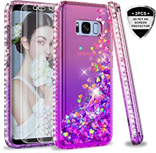 Samsung Galaxy S8 Case with 3D PET Screen Protector [2 Pack] for Girls Women, LeYi Glitter Cute Bling Liquid Quicksand Clear Protective Phone Case for Samsung S8 ZX Pink/Purple