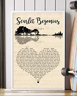 Trendora Decor Scarlet Begonias Song Lyrics Guitar Heart Portrait Poster Print (16