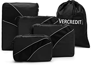 Travel Organizers Packing Cubes with Laundry Bag Lightweight Luggage Storage Cube Set for Men Women (Black with Laundry Bag)