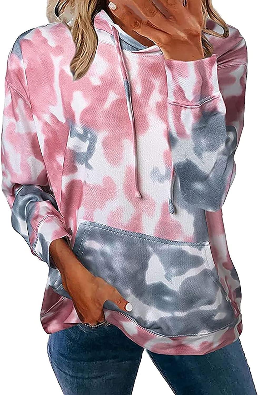 Women's Hoodies Tie Dye Print Sweatshirt Casual Long Sleeve Drawstring Hooded Pullover Tops with Pocket