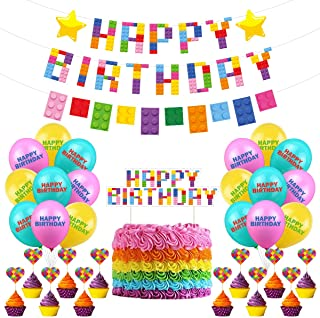 Building Blocks Party Theme Decorations Building Block Happy Birthday Party Decorations for Kids Boys Girls Building Block...