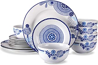 18-Piece Dinnerware Set, Doublewhale Dinner Plates Dishes, Bowls, Dishes Sets, Service for 6 - Blue