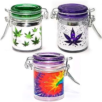 Amazon Com Airtight Glass Herb Mini Stash Jar Set Of 3 Pot Leaf Tie Dye And Purple Leaf Galaxy Metallic Silver Designs 1 5oz 2 5 Inches Kitchen Dining
