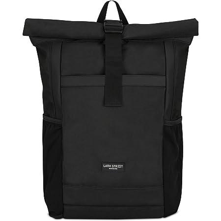 LARK STREET Rucksack Damen & Herren Schwarz No 2 Rolltop Backpack für den Alltag Uni Job Schule Fahrrad Freizeit – Recycelt & Wasserabweisend mit Laptopfach