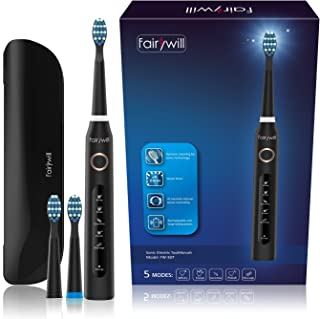 Fairywill Travel Electric Toothbrush Clean as Dentist Rechargeable Sonic Toothbrush with Timer 5 Optional Modes Waterproof Crystal Black