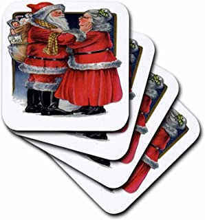 3dRose Mr and Mrs Claus- Vintage, Christmas, Cute, Nostalgic, Father Christmas, Santa Claus - Soft Coasters, Set of 4 (CST_78761_1)